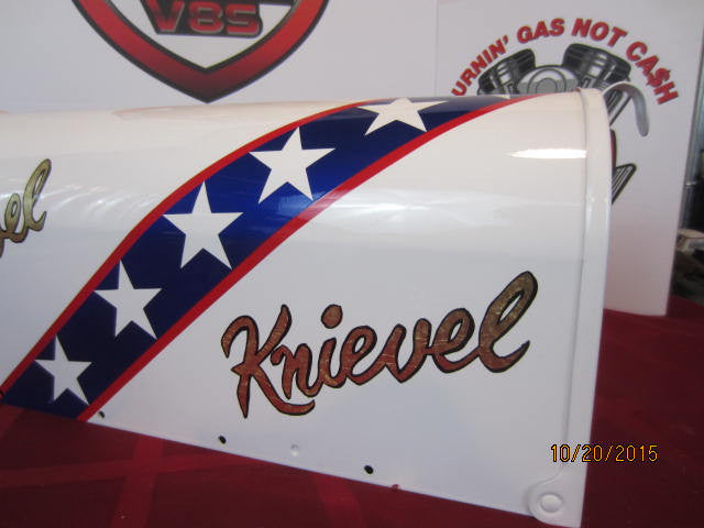 Evel knievel stars stripes custom painted mailbox hand painted gold leafed