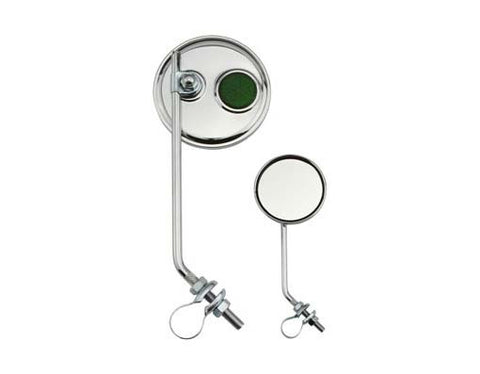 Picture of Round Mirror Chrome Green Reflectors.