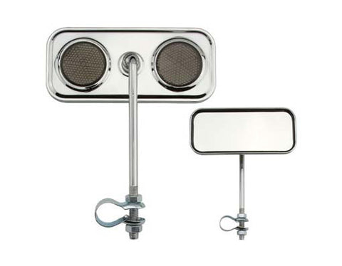 Picture of Rectangle Mirror Chrome Black Reflectors.