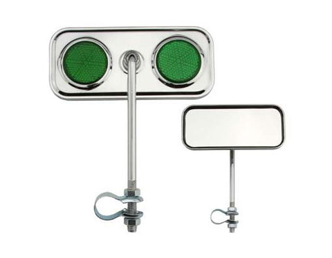 Picture of Rectangle Mirror Chrome Green Reflectors.