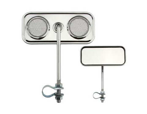Picture of Rectangle Mirror Chrome Clear Reflectors.