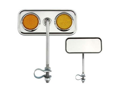 Picture of Rectangle Mirror Chrome Amber Reflectors.