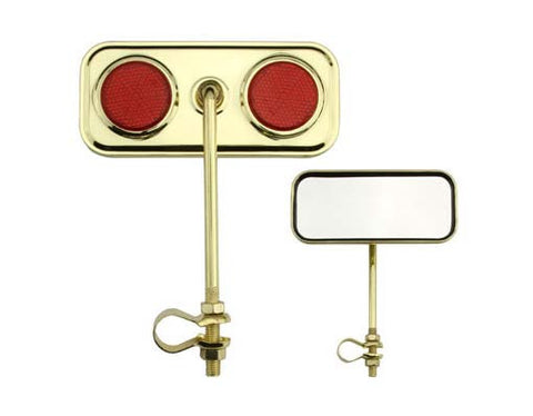 Picture of Rectangle Mirror Gold Red Reflectors.
