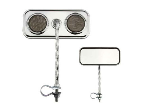 Picture of Rectangle Twisted Mirror Chrome Black Reflectors.