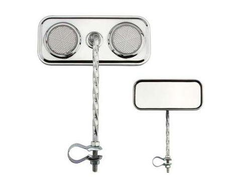 Picture of Rectangle Twisted Mirror Chrome Clear Reflectors.