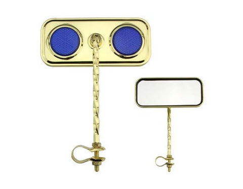 Picture of Rectangle Twisted Mirror Gold/Blue Reflectors.