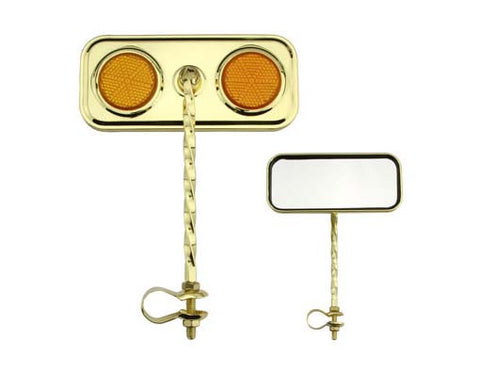 Picture of Rectangle Twisted Mirror Gold Amber Reflectors.