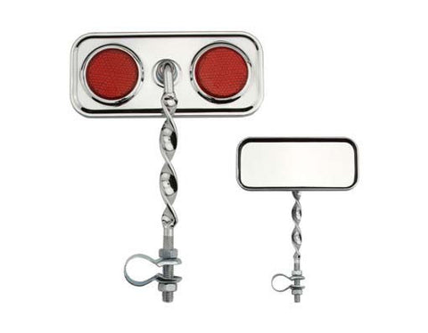 Picture of Rectangle Flat Twisted Mirror Red Reflectors.
