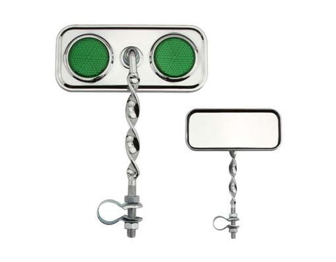 Picture of Rectangle Flat Twisted Mirror Green Reflectors.