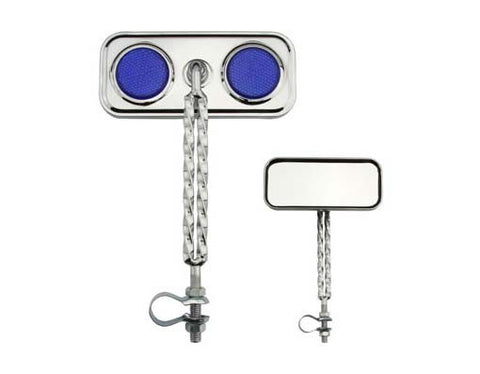 Picture of Double Twisted Mirror Chrome Blue Reflectors.