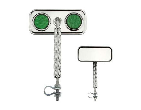 Picture of Double Twisted Mirror Chrome Green Reflectors.
