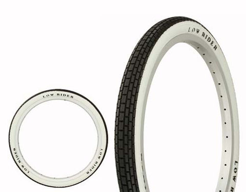 "Picture of Tire Duro 20"" x 1.75"" Black/White Side Wall Lowrider Raised Letter HF-120A."