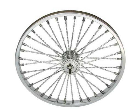 "Picture of 20"" 36 Twisted Spoke Front Wheel Chrome."