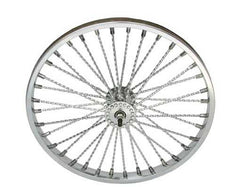 "20"" 36 Twisted Spoke Front Wheel Chrome."