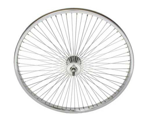 "Picture of 24"" 72 Spoke Front Wheel 14G Chrome."
