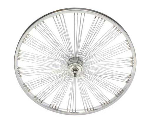 "Picture of 24"" Fan 144 Spoke Front Wheel 14G Chrome."