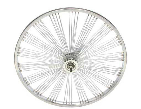 "Picture of 24"" Fan 144 Spoke Coaster Wheel 14G Chrome."