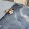 Solitaire Flaxen Swirl Halo Ring - Engagement Ring in Yellow Bronze