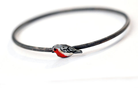 Handmade Bangle - 'Cheeky Robin' - Handmade Bangle