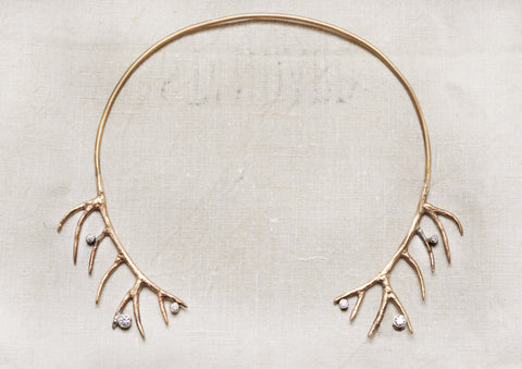 Elk Horn Handmade Bronze Choker Necklace with Set Zircon Gems
