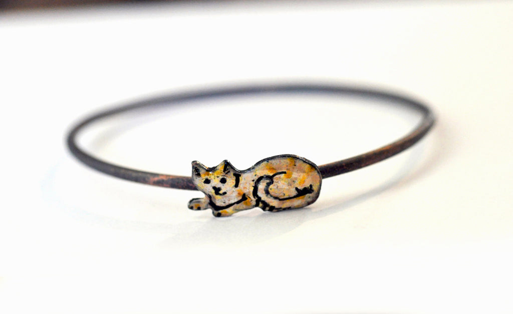Handmade Bangle - 'Ginger Cat' - Handmade Bangle
