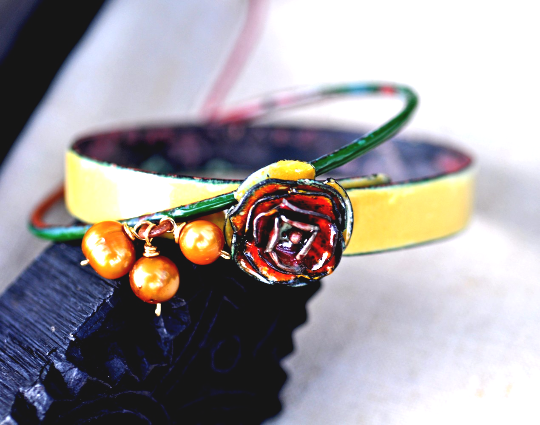 Hartland Gardens - Botanical-Inspired Enameled Bangle Set