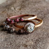 Weathered Bezel Set Zircon Ring - Enameled Silver and Bronze Gemstone Ring