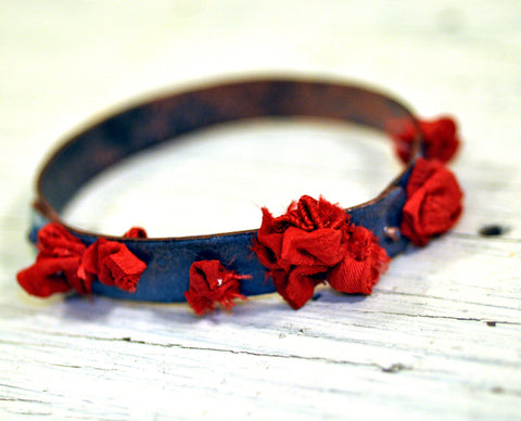 Ruffled Silk Handmade Bangle in Sky and Crimson
