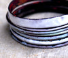 'Dishy York Whites' Handmade Enamel Bangles