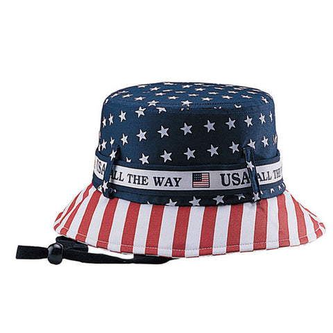 Topheadwear COTTON TWILL BUCKET HAT W/USA FLAG PRINT