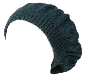 Topheadwear Cable Knitted Winter Ski Beret Tam Skull Hat - Forest Green