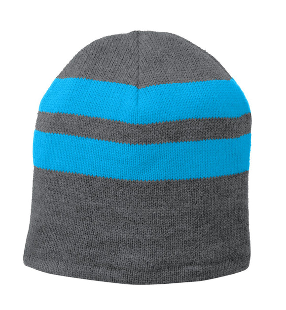 Top Headwear Fleece-Lined Striped Beanie