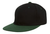 TopHeadwear Polyester Two-Tone Flat Bill Snapback - Black/Green