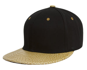 TopHeadwear Adjustable Two-Tone Cap with Gator Print Bill - Black/Gold