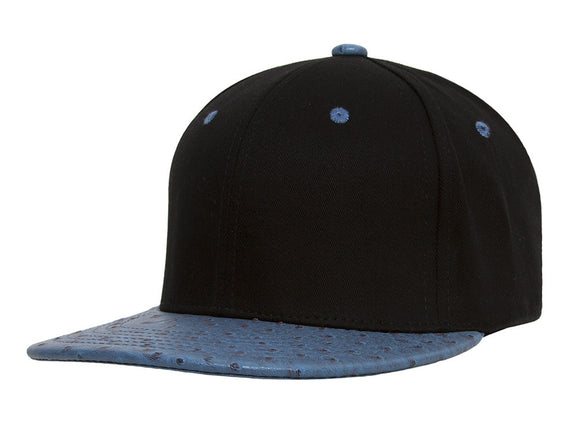 TopHeadwear Adjustable Two-Tone Cap with Ostrich Print Bill