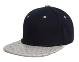 TopHeadwear Adjustable Two-Tone Cap with Ostrich Print Bill - Black/Blue