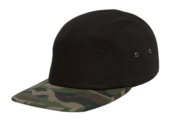 TopHeadwear Print Cotton Five-Panel Jockey Cap - Black/Camo