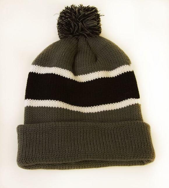 Winter Striped Beanie with Pom - Grey/Black
