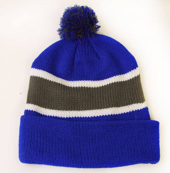 Winter Striped Beanie with Pom - Blue/Grey