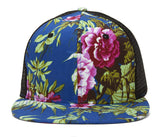 Floral Print Flat Bill Trucker Hat