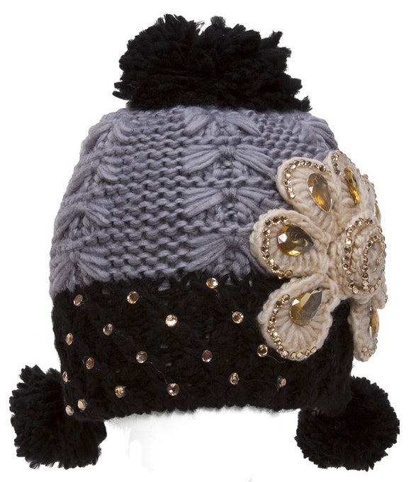 Topheadwear Womens Knitted Beanie w/ Pom - Two-Tone w/ Flower - Grey/Black