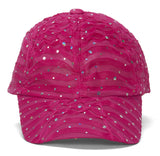Womens Flower Sequin Trim Baseball Cap