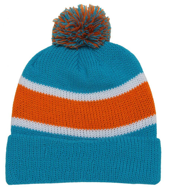 Winter Striped Beanie w/ Pom - Blue and Orange
