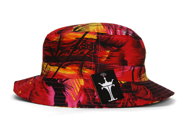 TopHeadwear Print Bucket Hats - Hawaii Red Sunset Flower - Large/X-Large