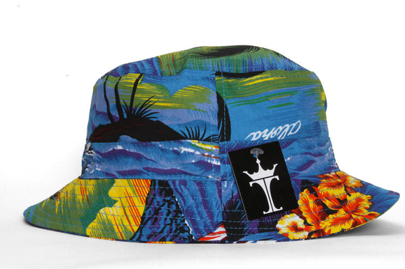 TopHeadwear Print Bucket Hats - Hawaii Blue Ocean Flower - Large/X-Large