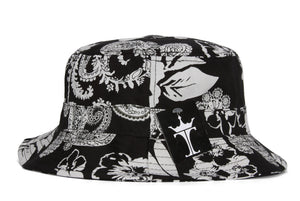TopHeadwear Print Bucket Hats - Damask Black/White Flower - Large/X-Large
