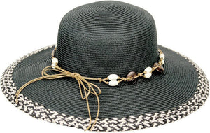 Topheadwear Toyo Braid Seashell Band Beach Resort Sun Hat - Black