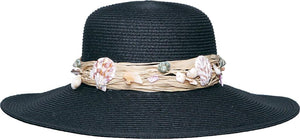 Topheadwear Toyo Braid Beach Seashell Band Wide Brim Sun Hat - Black