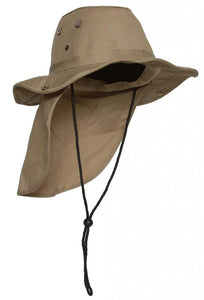 Top Headwear Safari Explorer Bucket Hat With Flap Neck Cover - Khaki