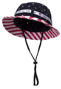 Cotton Twill Bucket Hat w/ USA Flag Print